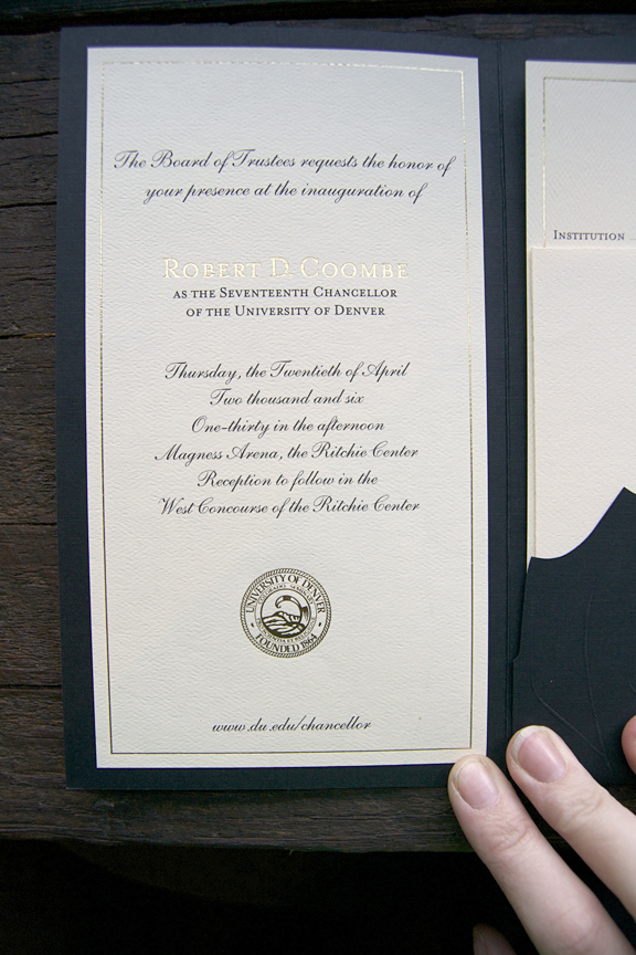 Invitation interior, foil stamped featuring 2 ink colors