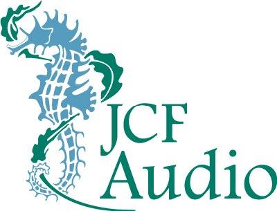 2-color JCF Audio identity